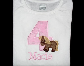 Custom Personalized Applique Minky Dots Birthday Number with HORSE and NAME Shirt or Bodysuit - Lt Pink, Tan, and Brown