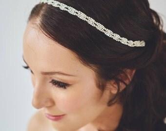 Rhinestone Headband | Silver Wedding Hair Accessories | Rhinestone Wedding Hairband [Isolde Headband]