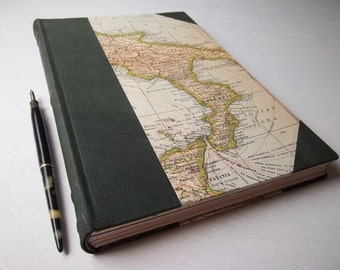 Heirloom Italy Journal, Large Sketchbook with Green Leather Spine and Corners, watercolor and art papers, vintage Italy map
