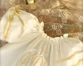Dedication Baptism Special Occasion Boutique Ivory or White Monogrammed Angel Wing Sleeve Dress
