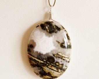 Druzy Ocean Jasper pendant necklace, Ocean Jasper necklace, Ocean jewelry, big bold chunky necklaces natural stone necklace big bold pendant