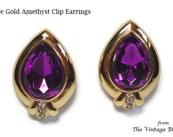 60s Pear Shape Amethyst Clip Earrings with Purple Glass Crystal & Rhinestone Accents Bezel Set in Gold - Vintage 60's Costume Jewelry