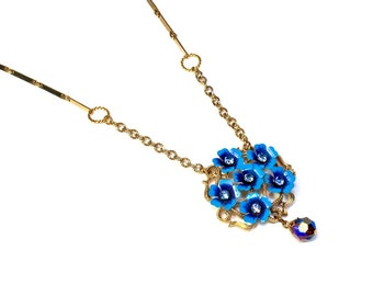 Upcycled Blue Flower Necklace, Repurposed Vintage Wedding, Prom Jewelry