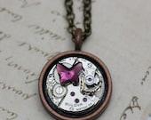 "Steampunk Necklace OOAK Butterfly Mixed Metal 18"" Repurposed Watch Piece Purple Handmade Jewelry"