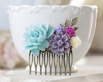 Soft Blue Purple Lavender Plum Ivory Floral Hair Comb Vintage Wedding Bridal Hair Comb Flower Leaf Collage Comb Bridesmaid Gift Country Chic