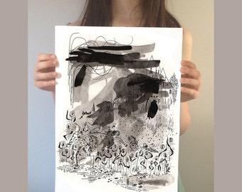 Original Illustration. The selfish Giant Ink painting. Original wall art. Black and white painting. Original painting. Pen and ink drawing
