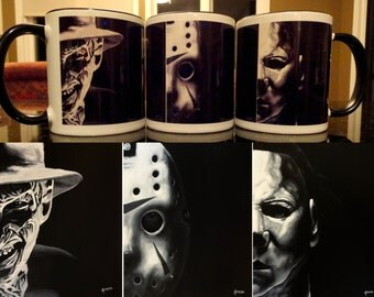 Movie Icons - Freddy, Jason & Myers - Lee Howard ART MUG