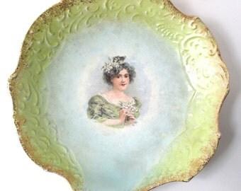 Verus Art Porcelain Artist Bowl, Young Maiden Holding Flowers, Scalloped Gold Edge