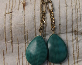 Funky Green Eco Chain Dangle Earrings/ Upcycled Boho Resin Teardrop Earrings Vintage Chain
