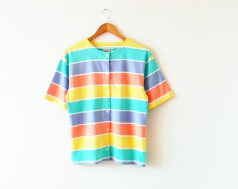 Perfect Melon Striped Vintage T-Shirt / Rainbow Stripes Vintage Blouse / Pastel Rainbow Tee
