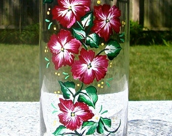 Valentines day Gift Hand Painted Vase With Red and White Flowers