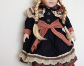 Vintage German Doll 1970s Porcelain Doll, Collectible Doll, Victorian Collection, Striped Ribbon, Plaits, Blond Doll, Blue Eye, Toys, Puppet