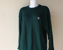 Fall Forest green sweater basket weave knit pullover front designer  logo long sleeves crew neck preppy jumper Unisex chest 46""
