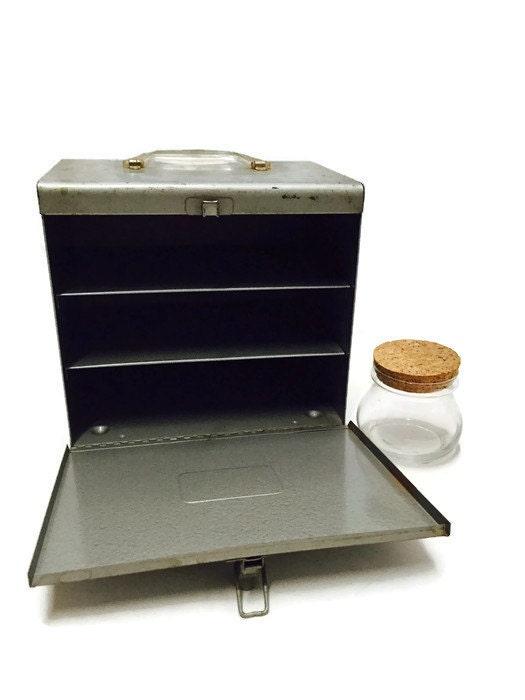 Industrial Portable Storage : Mid century metal storage box industrial chic retro