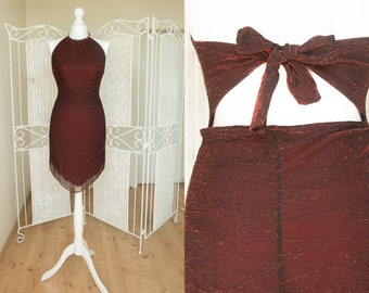 SALE  Vintage Ruby Red Glitter Cut Out Asymmetrical Dress  Halter mini dress with pointed hem Beckless Open Back Party Dress  Size  S  M