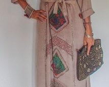 Rose Sand Indian Maxi Dress. Hand Sewn Silk Embroidery on Rayon Material. Only one in this color!