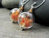 Glass Orbs Orange Earrings Garden Jewelry Sacral Chakra Earthy Safflower Carnelian Stone Red Aventurine Yellow Aragonite Sterling Silver