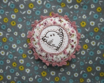 Pink and White Bird's Face Embroidered Brooch / Pin Badge