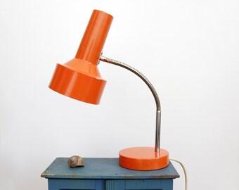 Vintage lamp // orange gooseneck metal desk lamp