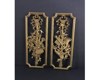 Pair of Homco 1964 Wall Decor Pieces, with Ribbon, Flowers & Musical Instruments, Vintage