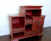 Reserved for Karidoyle Regency Chinoiserie Cabinet Red Lacquerware Asian Cupboard
