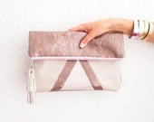Rose Gold Sequins Clutch, Nude Wedding Clutch, Bridal Clutch, Pastel Pink Leather Purse