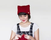 Knit Cat Ear Hat - Cat Beanie - Animal Ears Hat  in Dark Red | The Orion Hat |