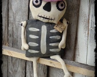 Primitive Folk Art, Skeleton Bones Halloween Rag Doll, Autumn Fall Decor, Door Hanger Greeter, Shelf Sitter, OFG FAAP