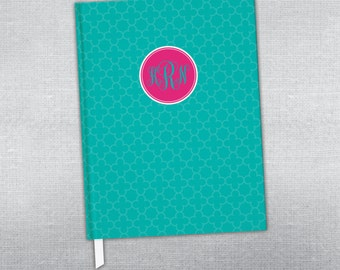 Personalized journal. Monogram journal. Hard cover journal. Bound journal.