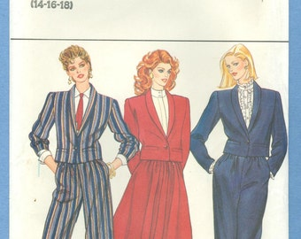 1980s Misses' Crop Jacket Flared Skirt and Straight Leg Pants Suit Size 14,16,18 - Vintage Butterick Sewing Pattern 4612