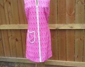 SALE-1960's Pink Double Knit Go-Go Dress 60's Sleeveless Dress Size S