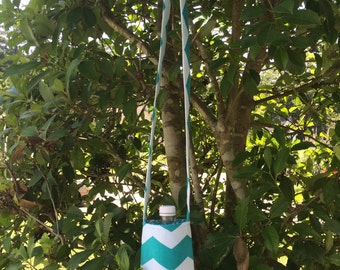 Aqua Blue Chevron Water Bottle Carrier, Water Bottle Holder, Water Bottle Cozy