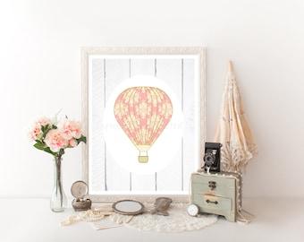 Hot Air Balloon Nursery, Hot Air Balloon Printable, Hot Air Balloon, Hot Air Balloon Decor, Hot Air Balloon Decor, HotAir Balloon Print 0199