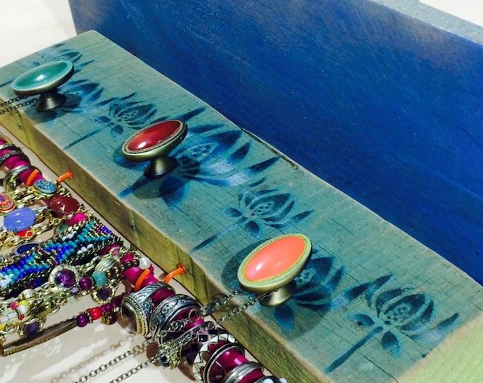 Floating shelves Reclaimed pallet wood shelf /jewelry holder accent shelving wall organizer Art Deco flowers 3 knobs 2 hooks bracelet bar