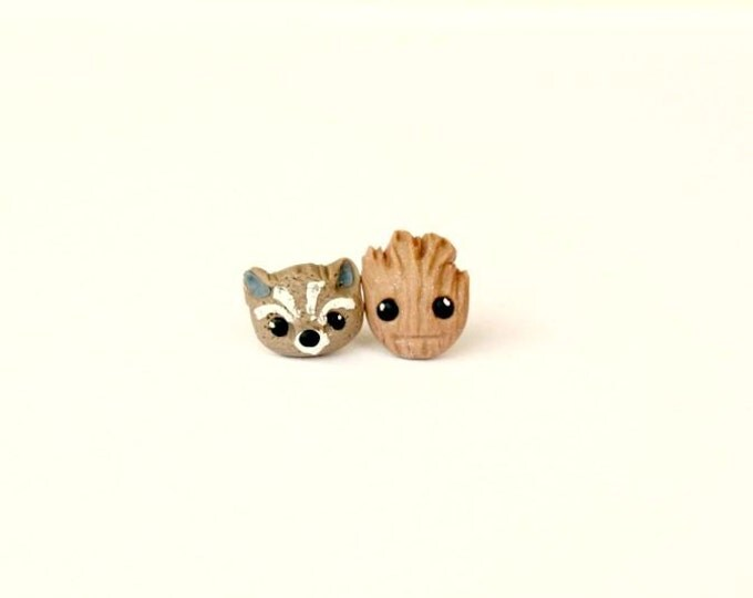 Groot & Rocket Raccoon stud or magnetic earrings- Guardians of the Galaxy inspired - Groot Rocket jewelry.