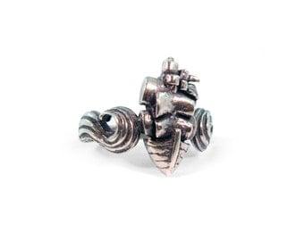 Sailboat ring, ship ring, nautical ring, boat ring, wave ring, ocean ring, sea ring
