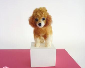MADE TO ORDER - Needle Felted Sculptures - Lovely Dog - Miniature Wool Felt Poodle Dog