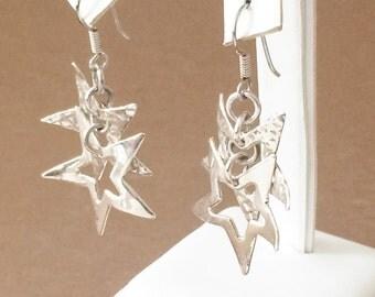 Sterling Silver Double Star Dangle Earrings