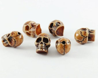 Wholesale skull woods beads, 6 Pcs. woods bead 12 x 16 mm. beautiful quality bead, Beads for handmade jewelry