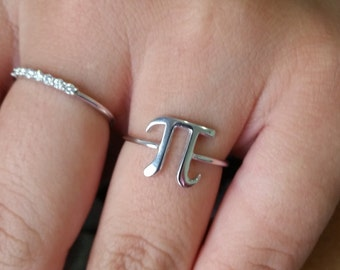 Silver pi ring, Sterling silver pi ring,Pie Shape RIng