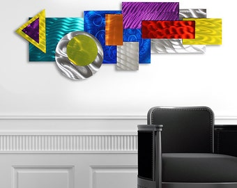 Colorful Abstract Metal Wall Art - Multicolor Modern Wall Sculpture - 3D Wall Decor - Home Accent  - Razzle Dazzle by Jon Allen
