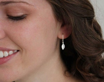 Tiny Leaf Earrings, Small Silver Dangle Drop Earring Leverback, Nature Jewelry, Botanical Dangle Drop Earring, Gift for Her Under 25
