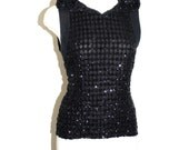 GIANNI VERSACE Couture Vintage Sequin Vest Hooded Black Silk Sheer Blouse - AUTHENTIC -