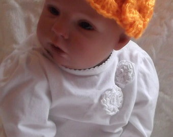 HandCrocheted... Mango Orange... Cap.... Floral Accent...Size 0 up to 3 Month...Infant Girl.... PHOTOS.... READY To SHIP...Fall Baby Girl