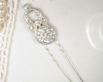 Antique Art Deco Bridal Hair Pin, 1920s Pave Rhinestone Hair Accessory, Silver Paste Gatsby Flapper Jewelry Small Hair Piece Fork Stick