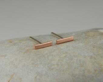 14K Rose Gold Earrings 5mm Gold Bar Earrings Handmade Earrings Rose Gold Studs Minimalist Gold Earrings Solid Gold Earrings