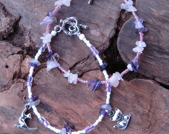 Purple beaded cat charm bracelet set w/ Lumpy cat figurine