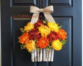 fall wreath autumn wreaths orange brown mums front door wreaths Thanksgiving outdoor wreaths decorations