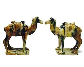 Vintage Clay Pottery Camels Pair Bookends Sancai Glazed Statues Bookcase Display Desert Caravan Bohemian Tribal Sahara Mantle Display