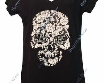 """Women's Rhinestone T-Shirt """" Huge Floral Skull """" in S, M, L, 1x, 2x, 3x"""